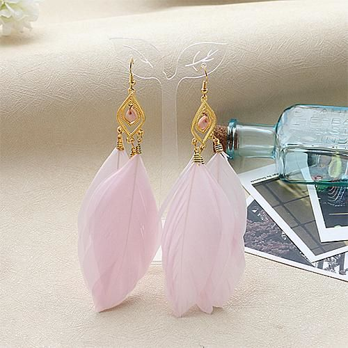 Pink and Gold Feather Earrings