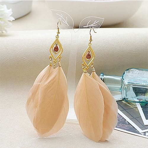 Peach and Gold Feather Earrings