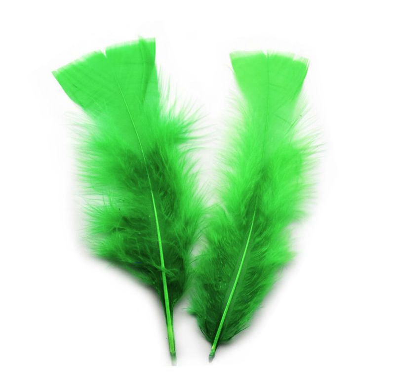 Green Turkey Feathers Flats