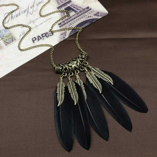 Black and Gold Feather Necklace