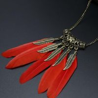 Feather Necklace - Red and Gold