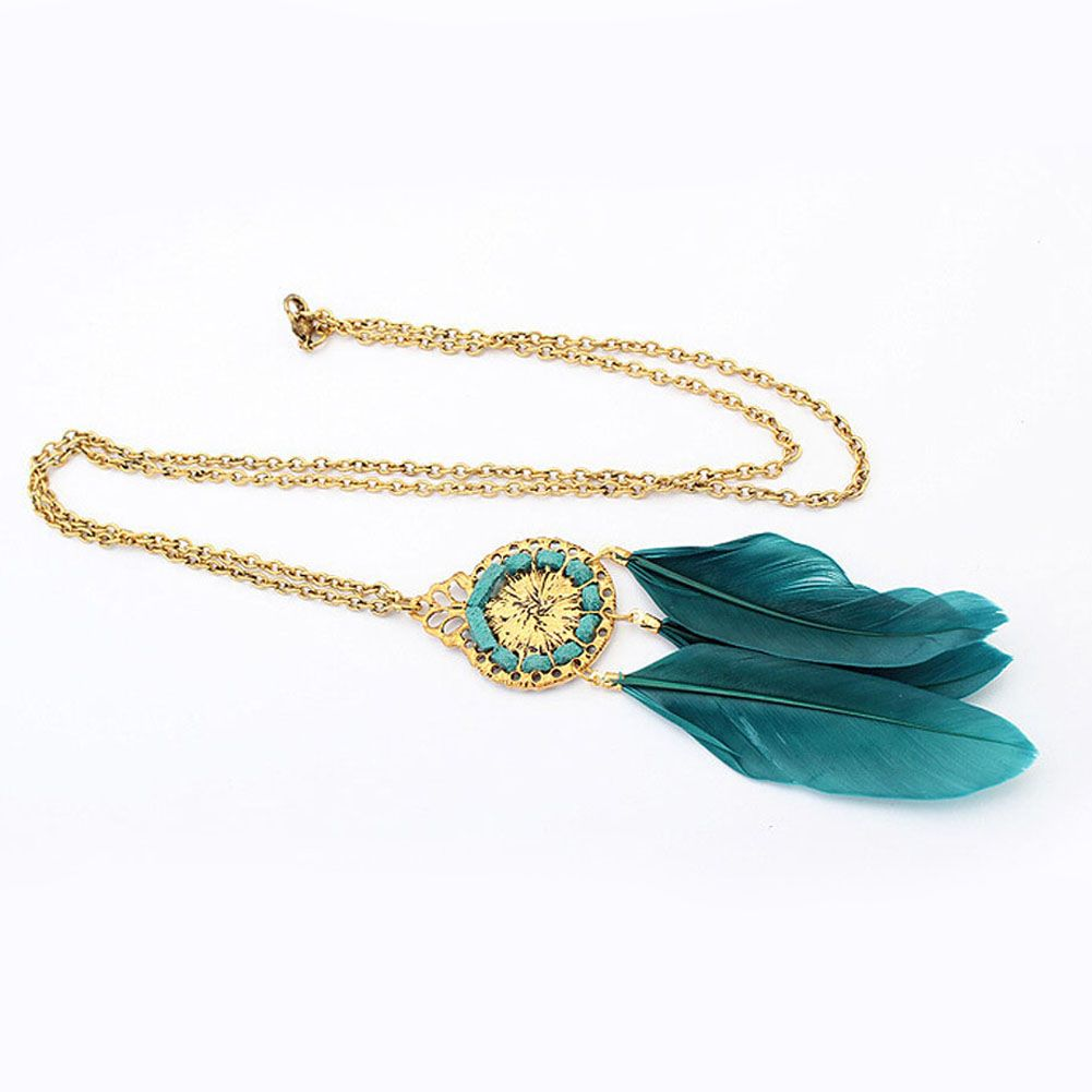 Feather Necklace - Green, White and Gold