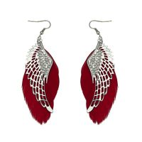Silver Angel Wing Feather Earrings with Red Feathers