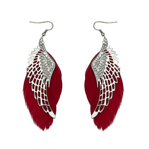 Angel Wing Feather Earrings with Red Feathers