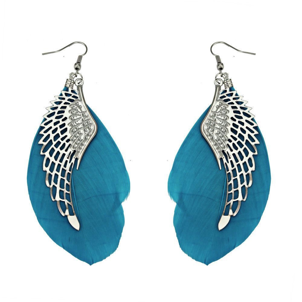 Silver Angel Wing Feather Earrings with Blue Feathers