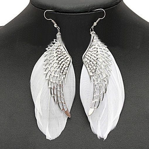 Silver Angel Wing Feather Earrings with White Feathers