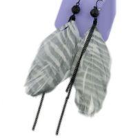 Feather Earrings with Zebra Pattern