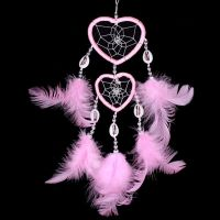 Feather Dreamcatcher Heart Web (Baby Pink)