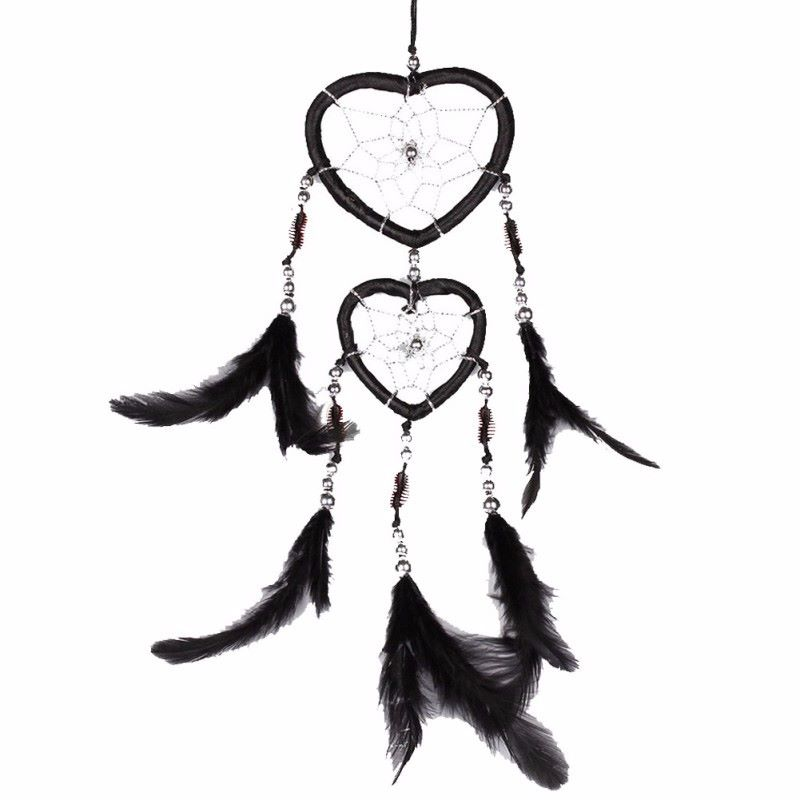 Feather Dreamcatcher Heart Web (Black)