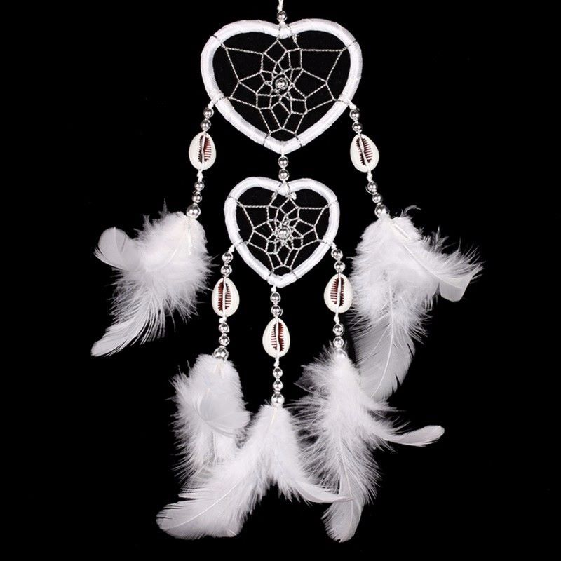 Feather Dreamcatcher Heart Web (White)