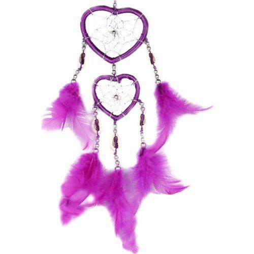 Feather Dreamcatcher Heart Web (Dark Pink)