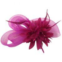 Wedding Fascinator Hair Piece - Dark Pink
