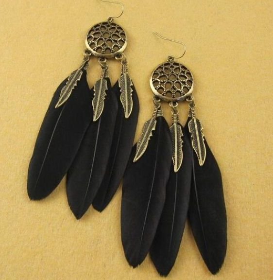 Feather Earrings in Black and Gold