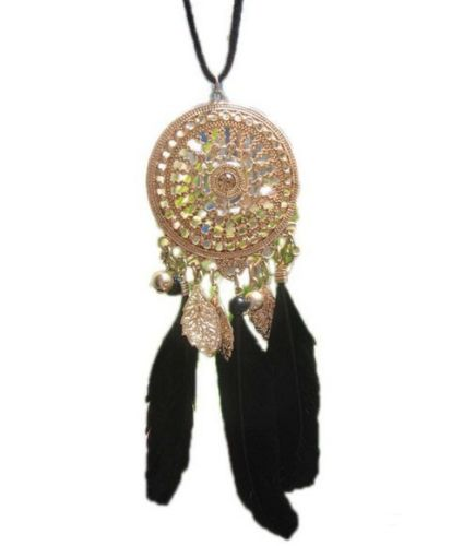 Gold Feather Necklace with Black Feathers