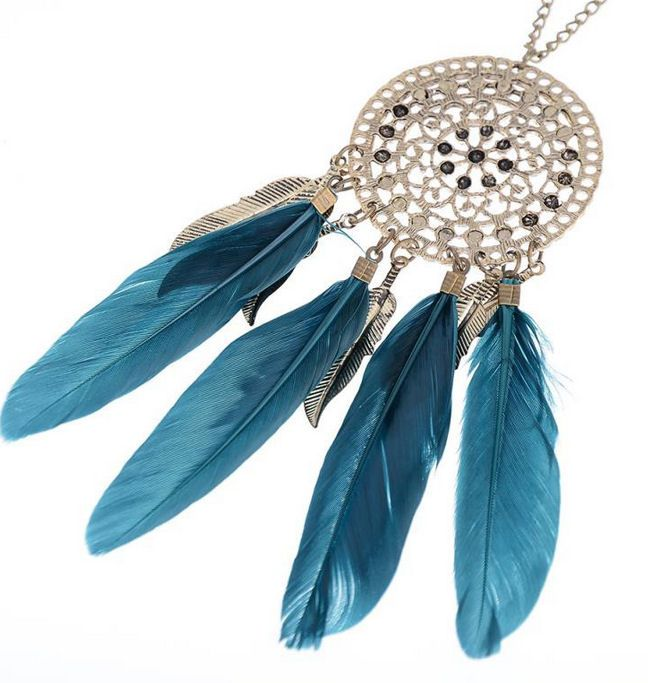 Feather Necklace with Teal Green Feathers
