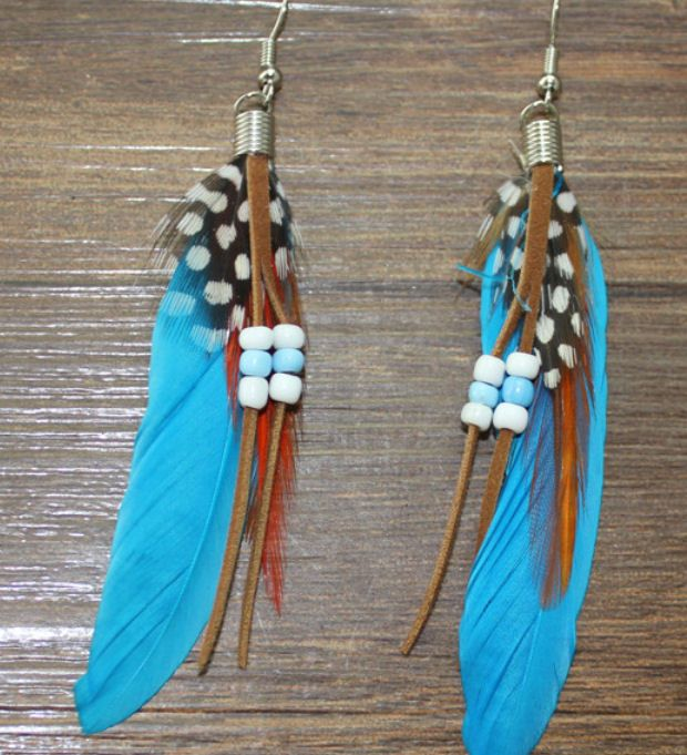 Blue Feather Earrings Embellished with Beads