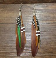 Brown Feather Earrings Embellished with Beads