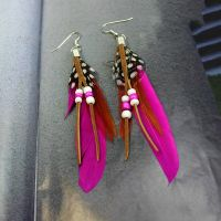 Dark Pink Feather Earrings Embellished with Beads
