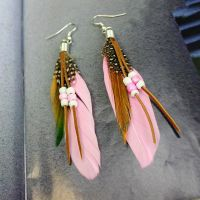 Light Pink Feather Earrings Embellished with Beads