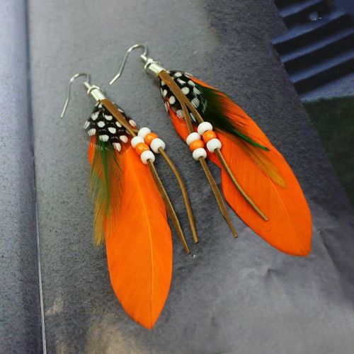 Orange Feather Earrings Embellished with Beads