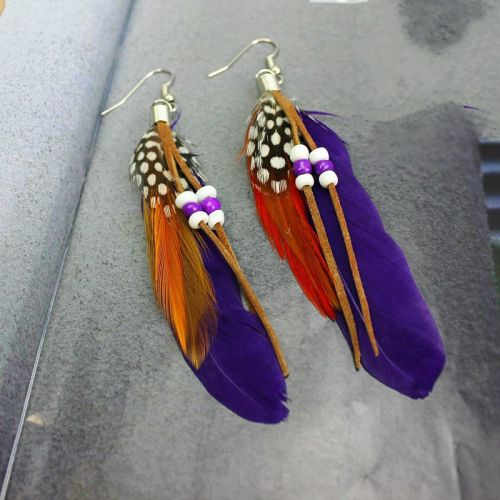 Purple Feather Earrings Embellished with Beads