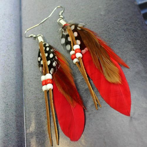 Red Feather Earrings Embellished with Beads