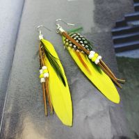 Yellow Feather Earrings Embellished with Beads