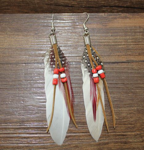 White Feather Earrings Embellished with Beads