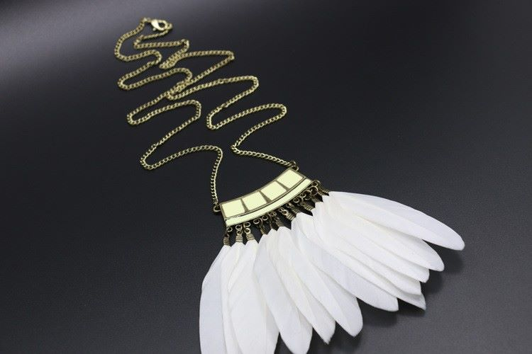 White Goose Feather Drop Necklace with Real Feathers