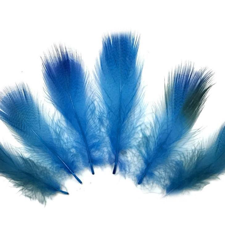 Deep Turquoise Duck Speckled Flank Feathers x 10