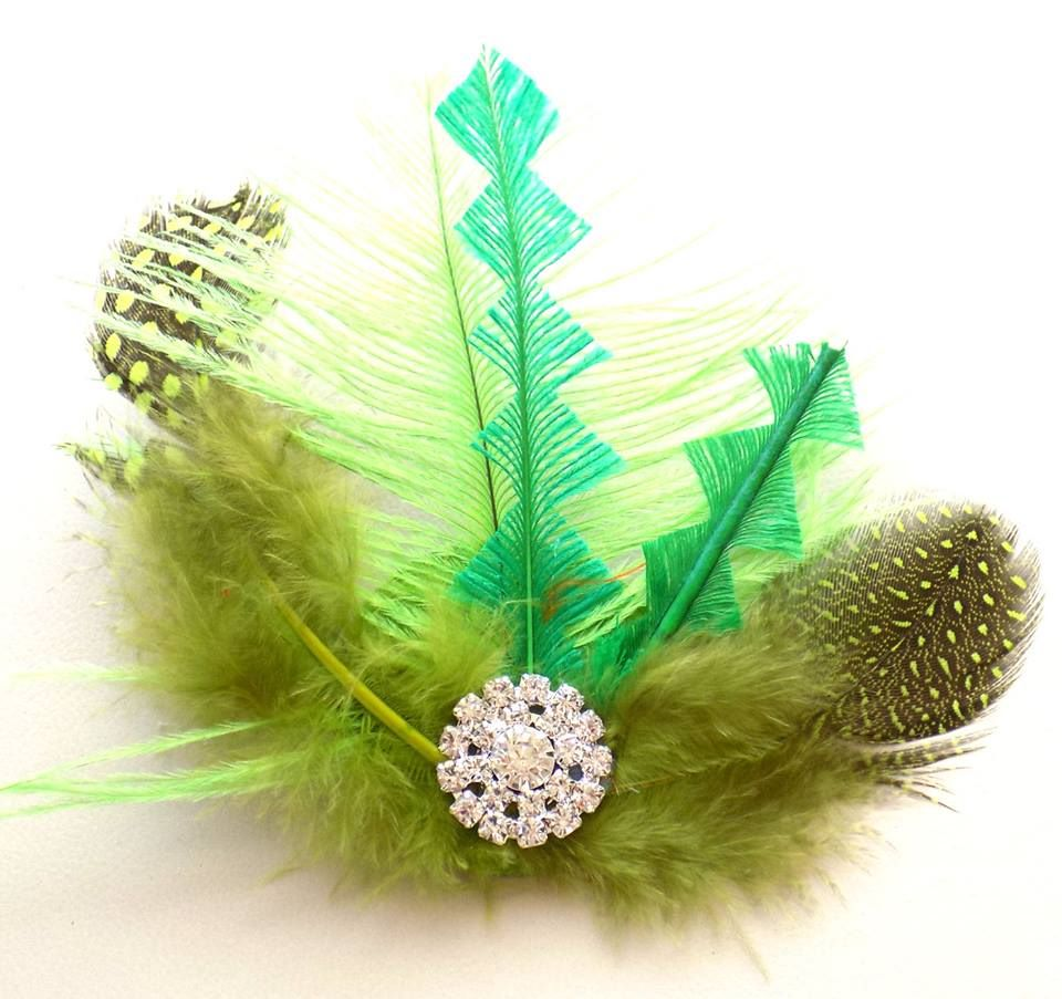 Green Feather Hair Clip