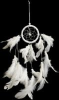 White Dream Catcher with white feathers, Ethically Sourced