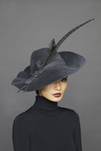 Grey wedding hat idea
