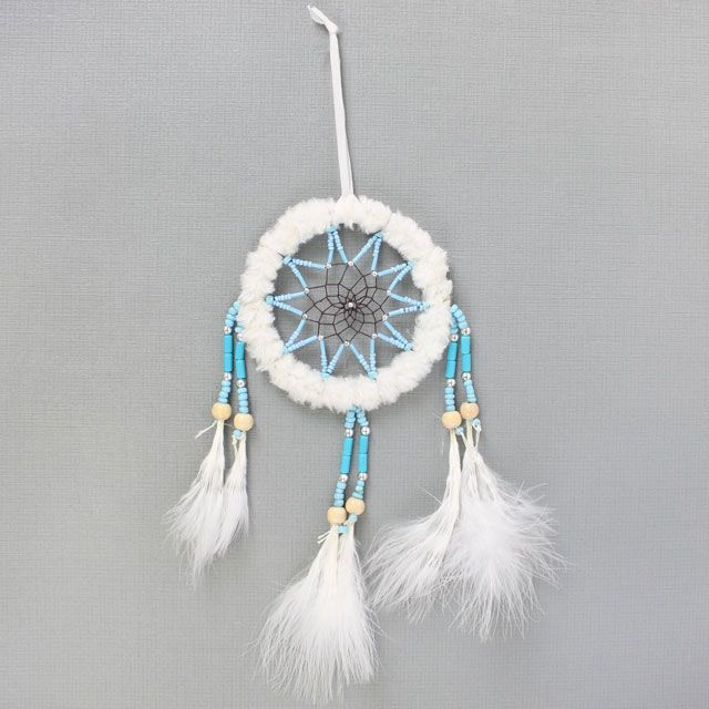 Dream Catcher with White Faux Fur and Feathers