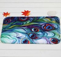Peacock feather designed bath mat