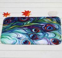 Peacock feather designed bath mat