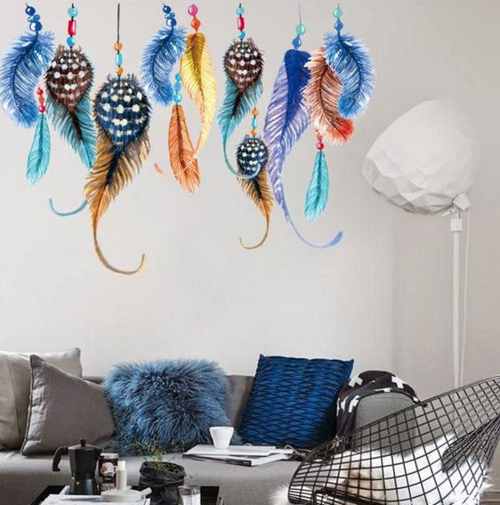 Wall Art Stickers with Feathers