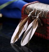 White Feather Earrings with Goose and Peacock Feathers