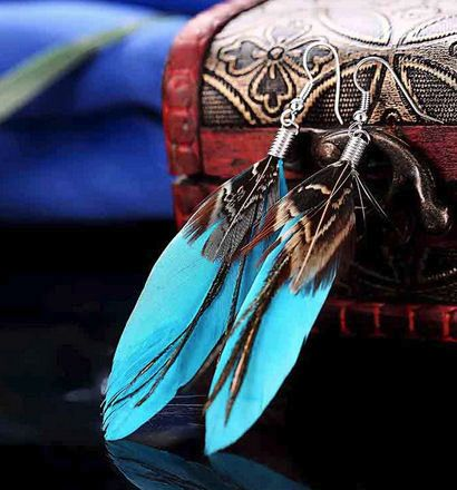 Deep Turquoise Feather Earrings with Goose and Peacock Feathers