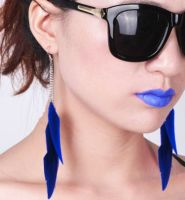 Navy Blue Floaty Feather Earrings