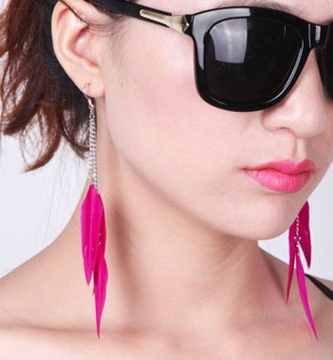 Dark Pink Floaty Feather Earrings