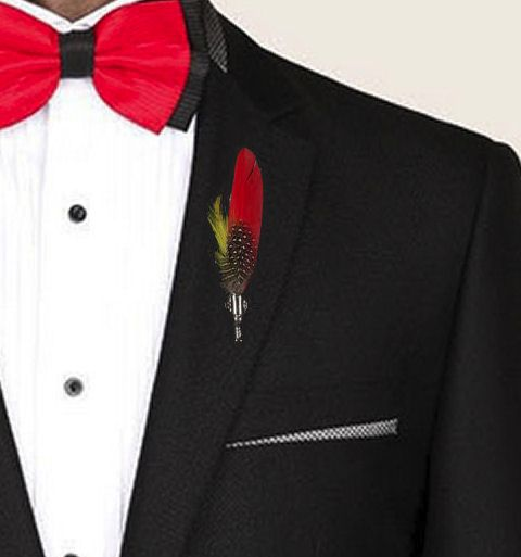 Feather Boutonnière Buttonhole - Red Goose Feather