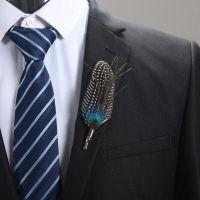 Feather Boutonnière Buttonhole - Guinea Feather