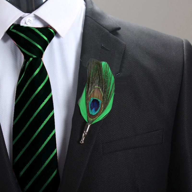 Feather Boutonnière Buttonhole - Peacock and Green Feather