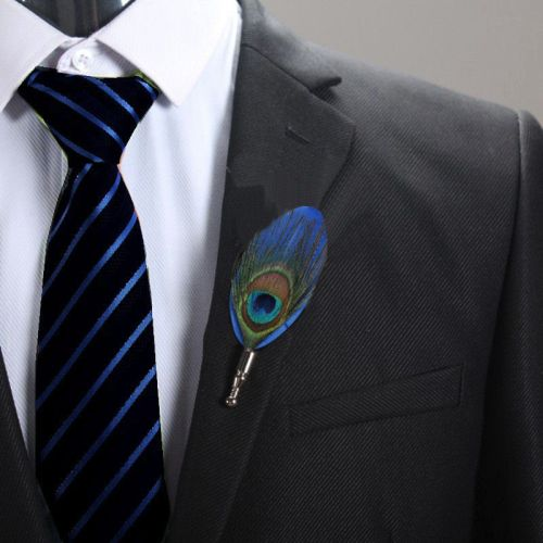 Feather Boutonnière Buttonhole - Peacock and Blue Feather