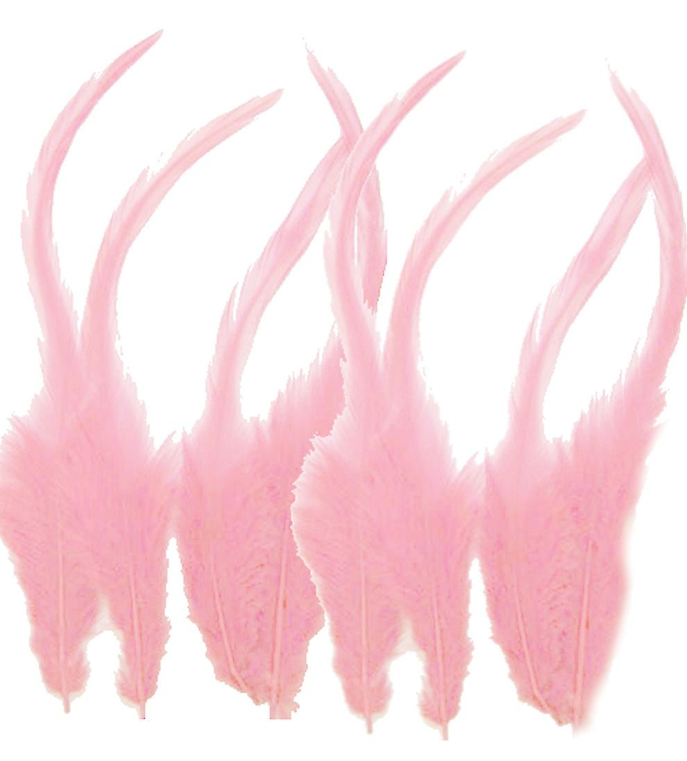 Baby Pink Rooster Saddle Feathers x 10