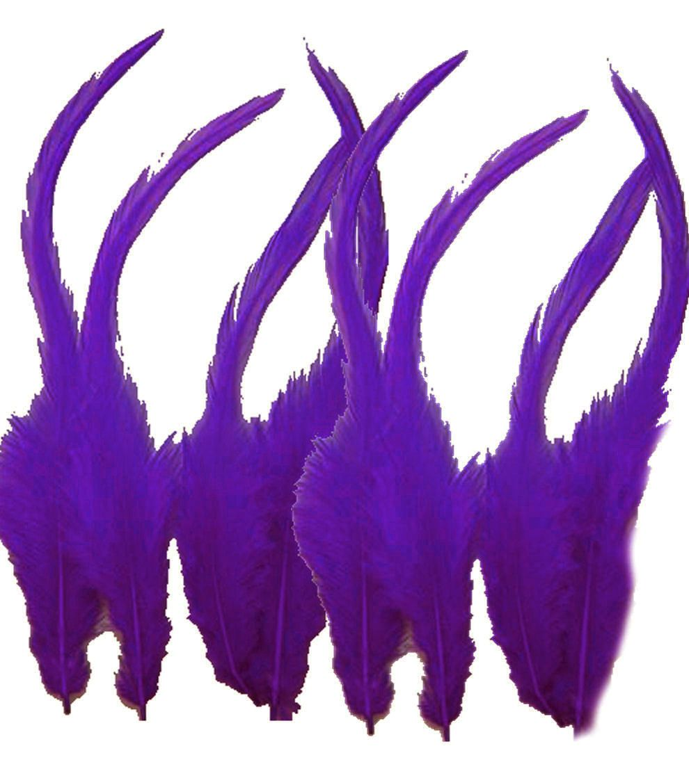 Purple Rooster Saddle Feathers x 10