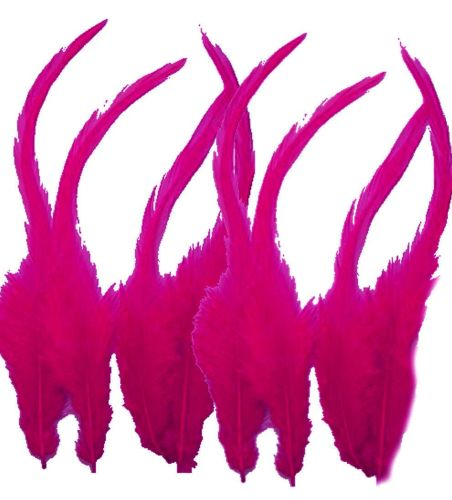 Dark Pink Rooster Saddle Feathers x 10