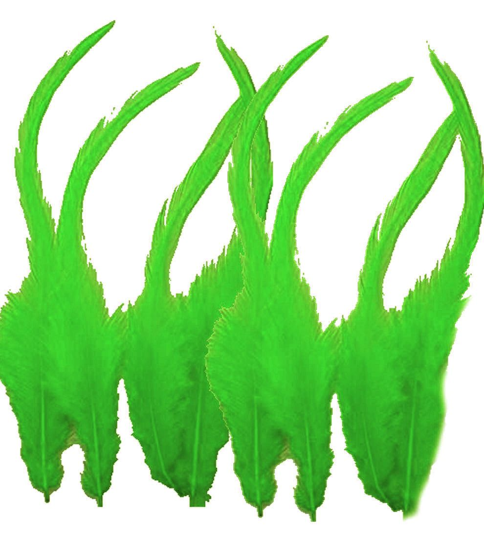 Lime Green Rooster Saddle Feathers x 10