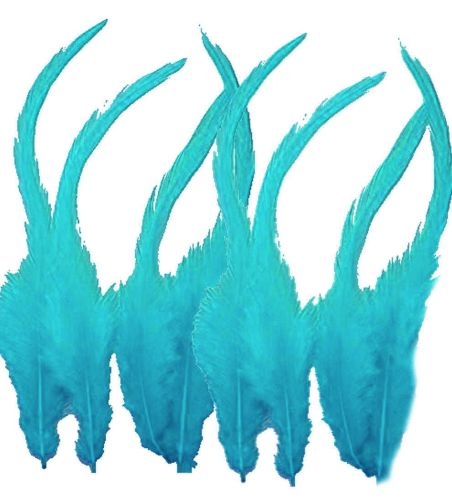 Aqua Blue Rooster Saddle Feathers x 10
